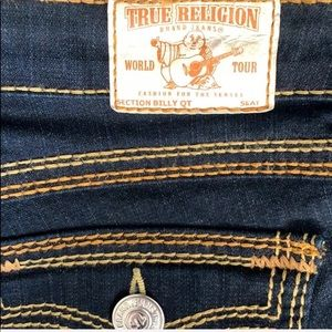 True Religion Jeans - True Religion Billy QT Yellow Topstitch Blue Jeans